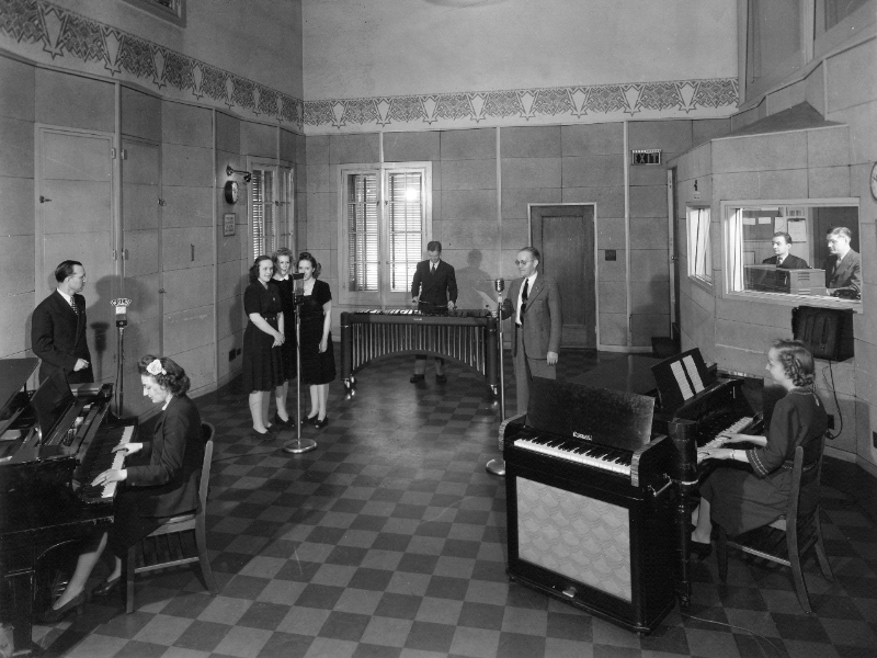Musicians and radio hosts perform a live broadcast in Moody Radio's Studio A in June 1945.